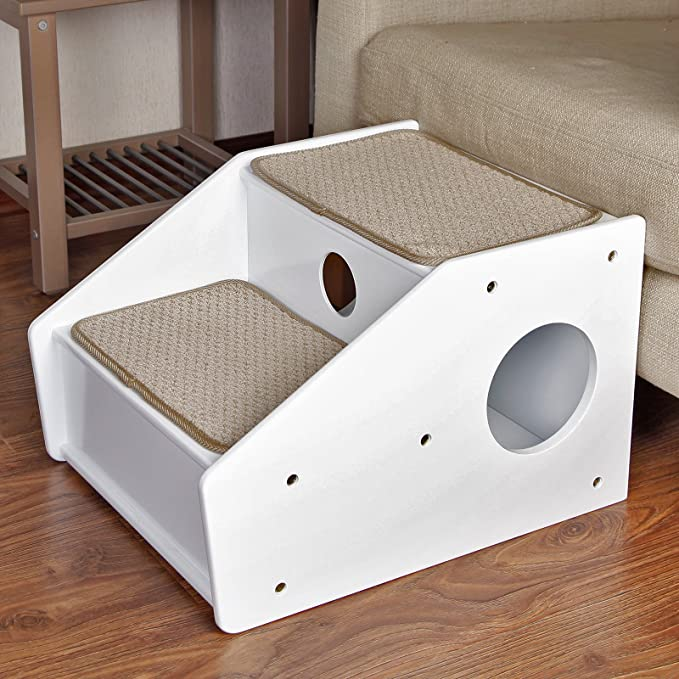 Petsfit 2 Steps Dog Stairs White 21x17x14 Inch Pet Supplies