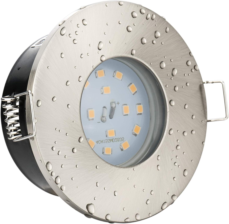 Bad Sauna Dusche WC Terrasse /Ø 55-60mm Bohrloch Au/ßenbereich IP44 MR16 Einbauleuchte f/ür Badezimmer LED Einbaustrahler geb/ürstet 5 Watt kaltwei/ß super flach 12V