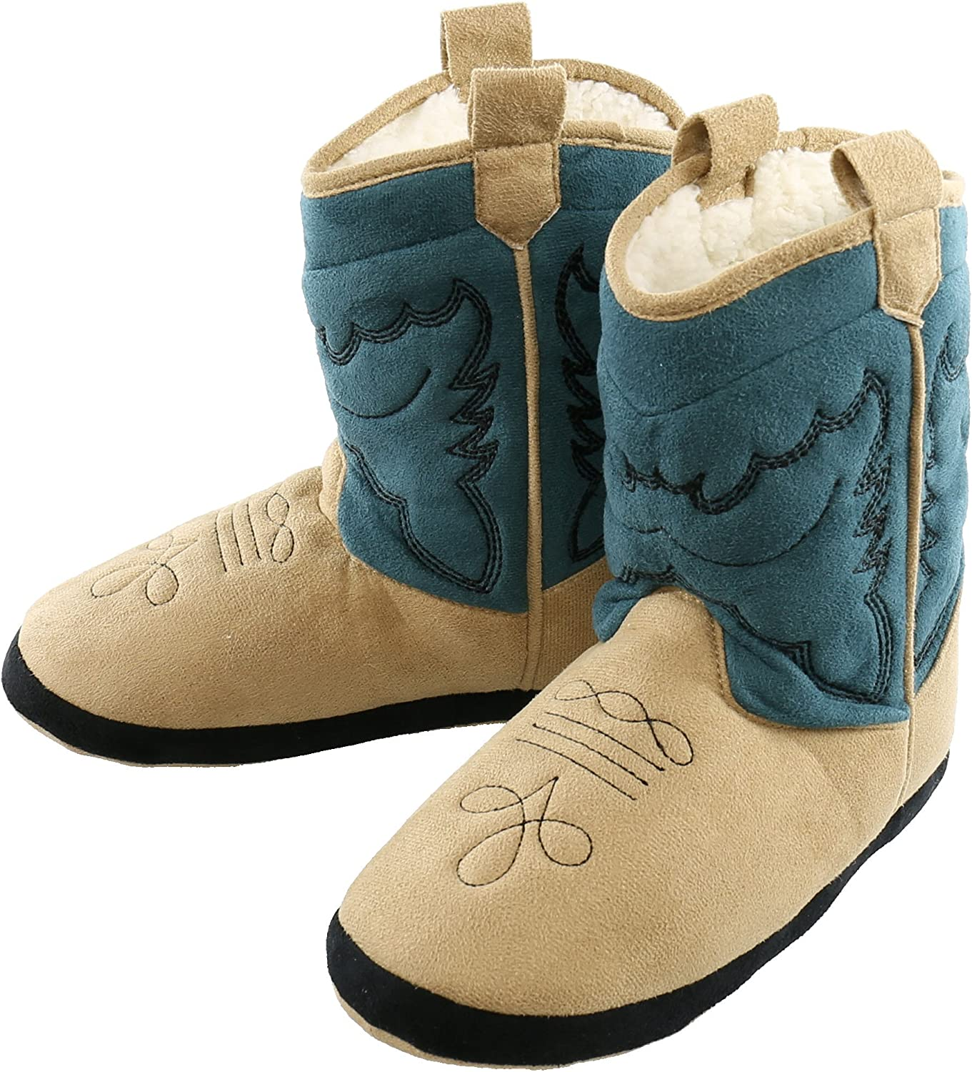 Lazy One Unisex Blue Cowboy Bootie Slippers