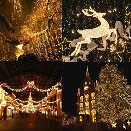 amazoncom koner led christmas lights 500 leds 328ft 100m indoor and outdoor string lights warm white 8 modes for christmas tree patio party wedding