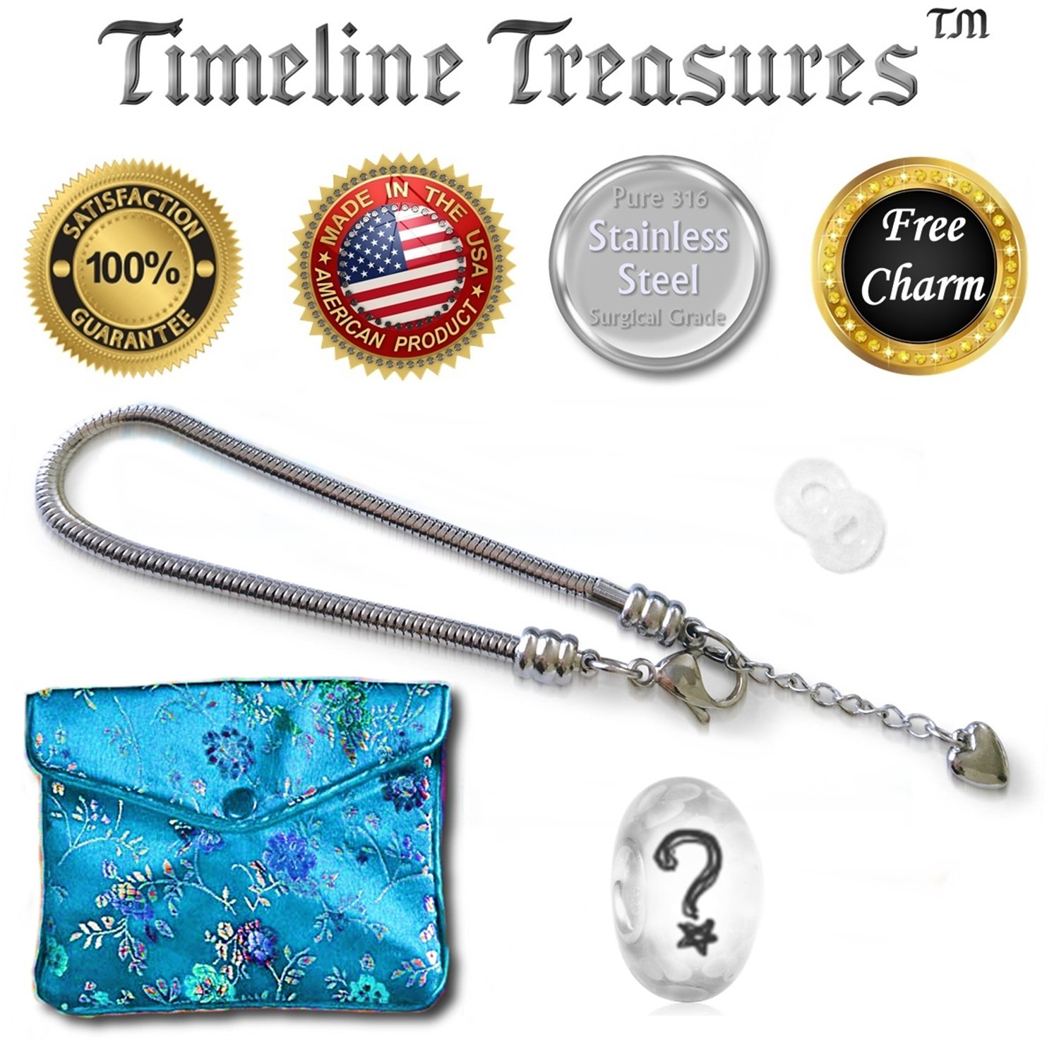 Timeline Treasures European Charm Bracelet For Women and Girls Bead Charms, Stainless Steel Snake Chain, Claw 7.5 Inch by Timeline Treasures (Image #3)