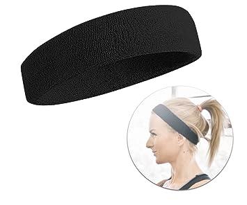 helle n Farbe schön und charmant Designermode Schweißband Schweissband Stirnband Kopfarmband Kopfband Band Stirn  Schweißkopfband Haarband Herren und Damen für Sport schwarz