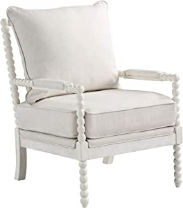 OSP Home Furnishings Kaylee Spindle Accent Chair, White Frame with Linen Fabric
