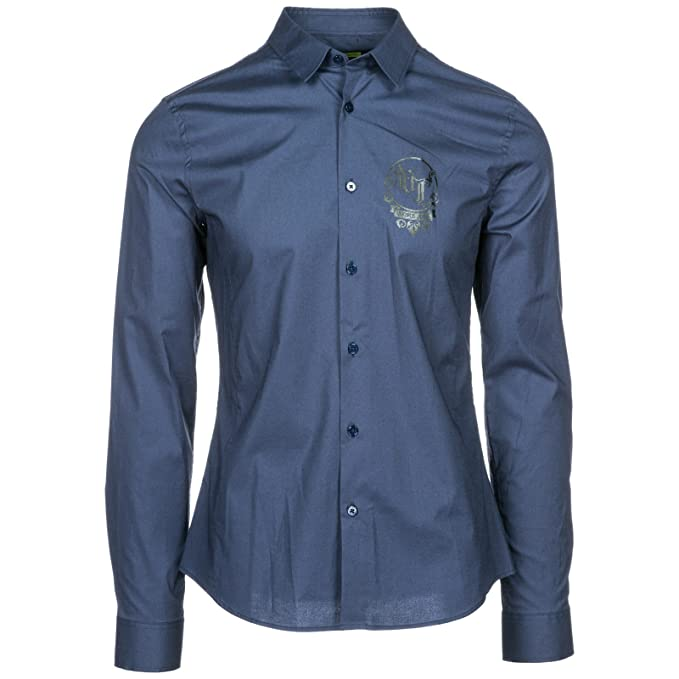 Versace Jeans Camisa de Mangas largas Hombre Nuevo BLU EU 48 (UK 38) B1GSB6E0