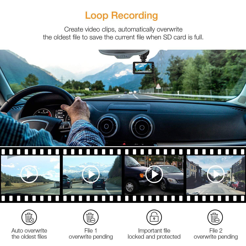 APEMAN Cam/éra de Voiture Angle de 170/° Cam/éra Embarqu/ée 3.0 Pouces Full HD 1080P DashCam avec G capteur WDR d/étection de Mouvement
