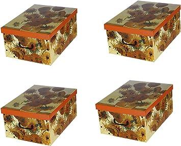 ordnungs Cajas Deko cartón Clip Juego de 4 Diseño Van Gogh Girasoles Caja para el hogar Oficina Ropa Caja de Regalo Decoración cartón sammelbox Multiusos Caja Orden – Caja cartón almacenaje: Amazon.es: