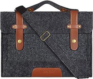 MOSISO Laptop Shoulder Bag Compatible 15-15.6 Inch MacBook Pro, Ultrabook Netbook Tablet, Ultraportable Protective Felt Slim Briefcase Carrying Handbag Sleeve Case Cover, Black