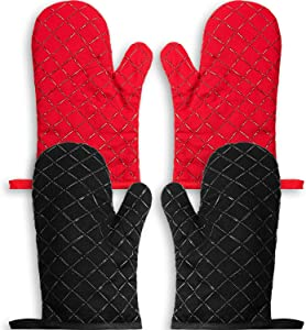2 Pairs Oven Mitts Silicone Oven Gloves Heat Resistant Kitchen Mitts Cooking Gloves Barbecue Potholder with Quilted Cotton Lining Non-Slip Surface for Cooking, Grilling, Baking