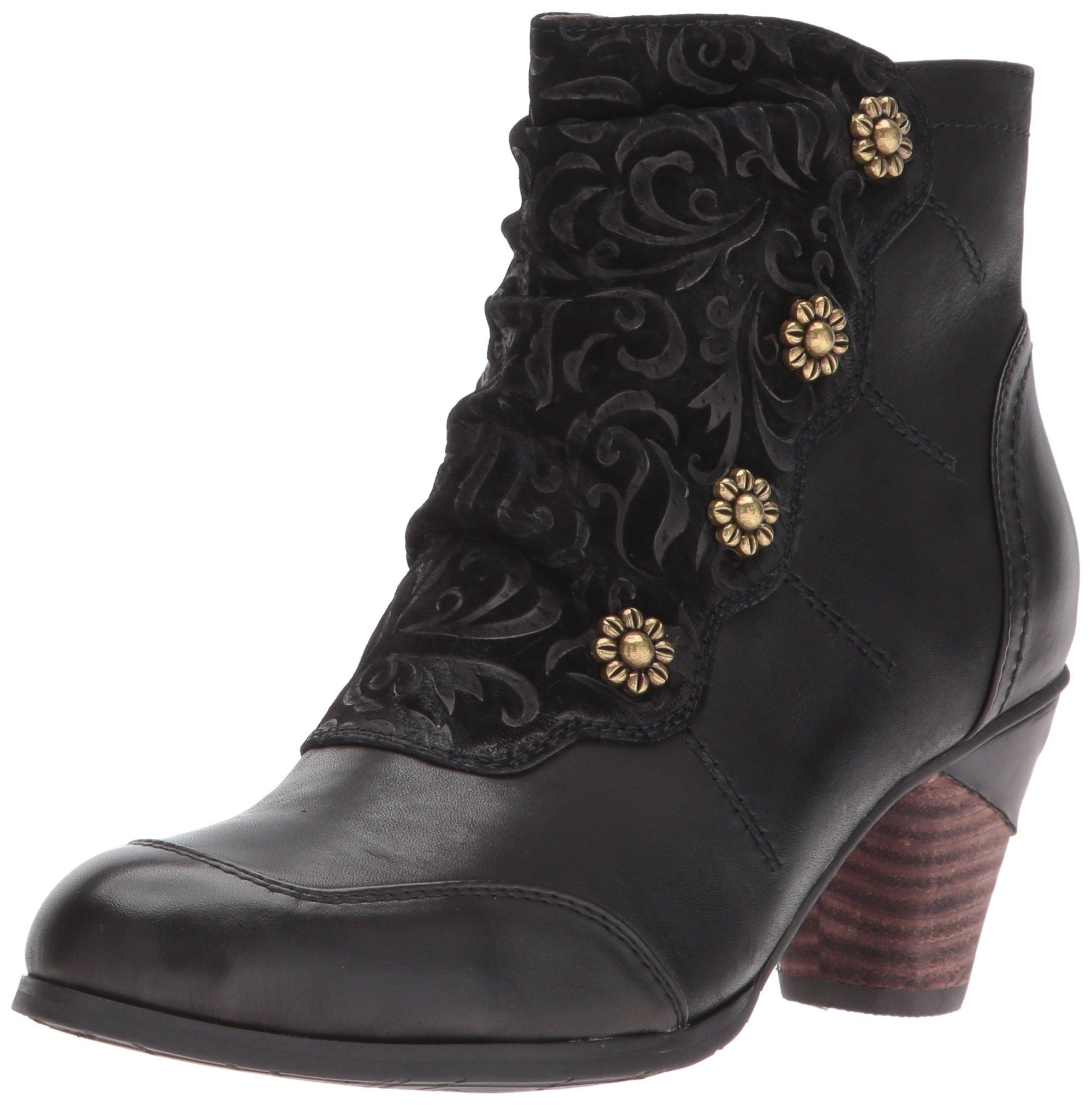 L'artiste By Spring Step Women's Belgard Ankle Bootie, black, 38 EU/7.5 - 8 M US