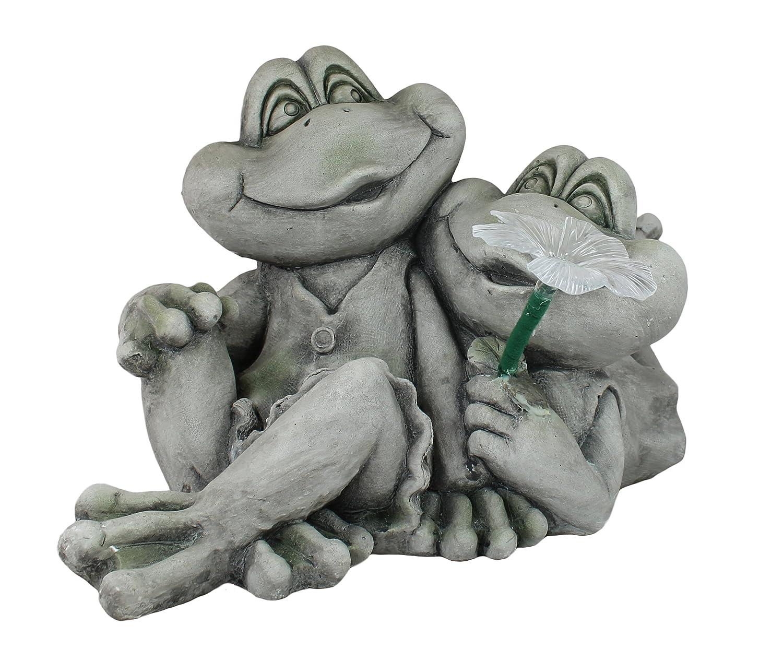 Dekofigur Froschpaar mit Solarblüte Gartenfigur Dekoration Tierdeko