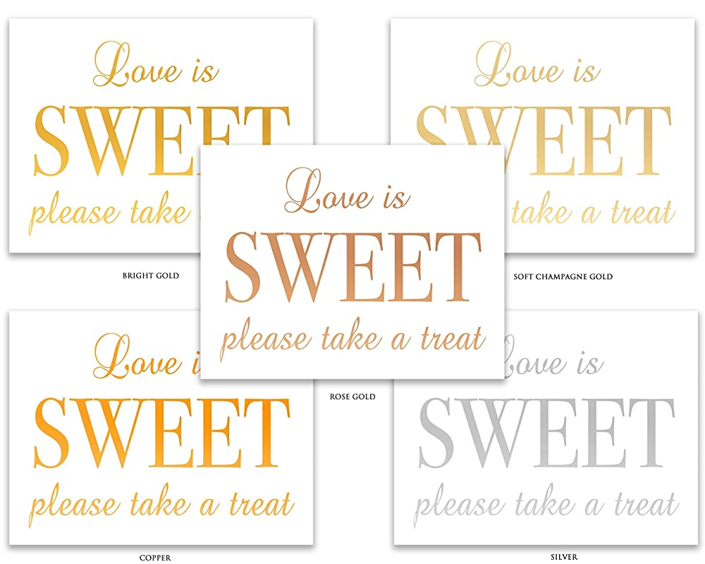Dessert Sign, Real Foil Gold Wedding Sign Please Take A Treat Love Is Sweet Foiled Wedding Signs Gold Foil Wedding