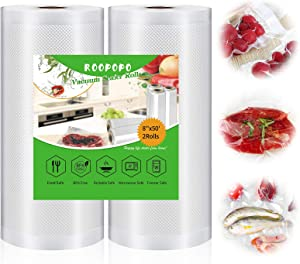 Vacuum Sealer Bags, Food Vacuum Saver Bag Rolls, Large 8 Inch x 50 Ft 2 Pack Vacuum Sealer Rolls, BPA Free,Heavy Duty,Cut to Size Roll for vac storage, Meal Prep or Sous Vide