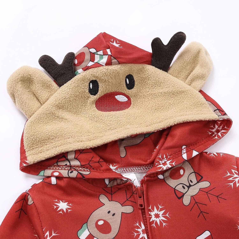 Bnrsyku Familie Weihnachten Kapuzenpullover Overall Pyjamas Nachtw/äsche Hirsch Langarm Sweatshirt Bodys Kleidung