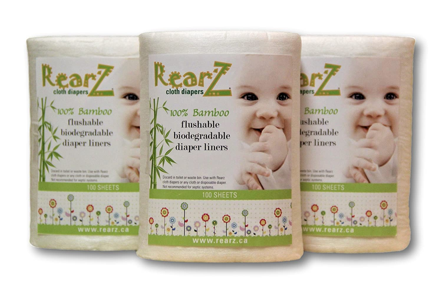 Rearz - All Natural, 100% Bamboo Diaper Liners (100 Sheets) (3 Pack)