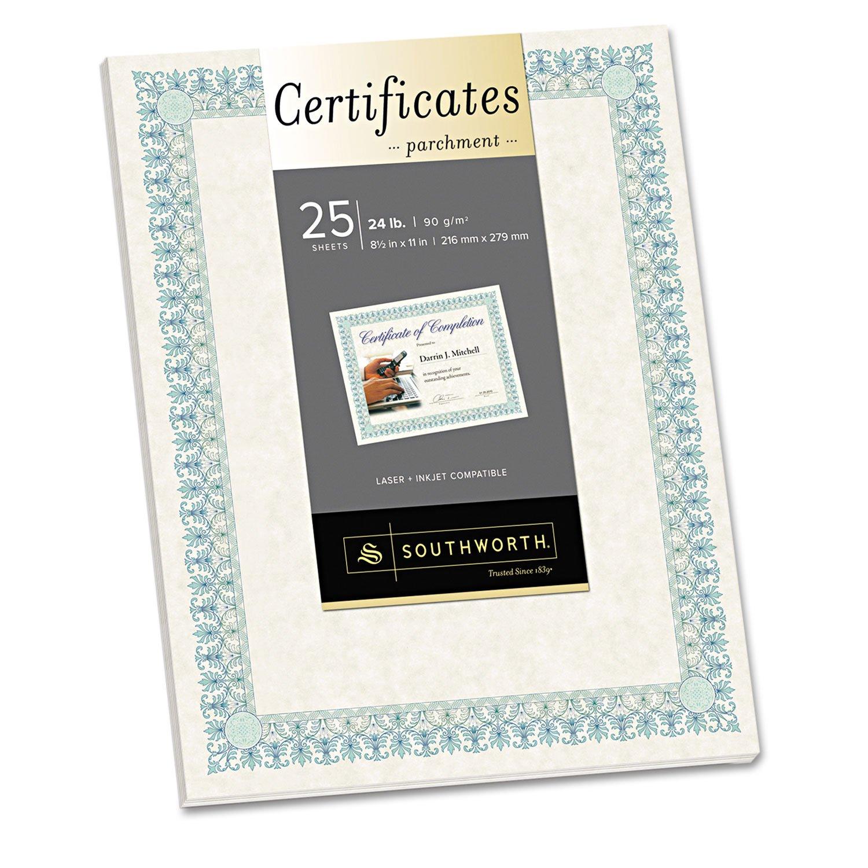 SOUCT3R Southworth CT3R Parchment Certificates Ivory w/Green & Blue Border 24 lbs. 8-1/2 x 11 25/PK
