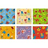 Sesame Street, Elmo Birthday Gift Wrap Wrapping Paper for Boys, Girls, Kids 6 Different 5 ft X 30 in Rolls / Pack Set Included! Light Weight Paper.