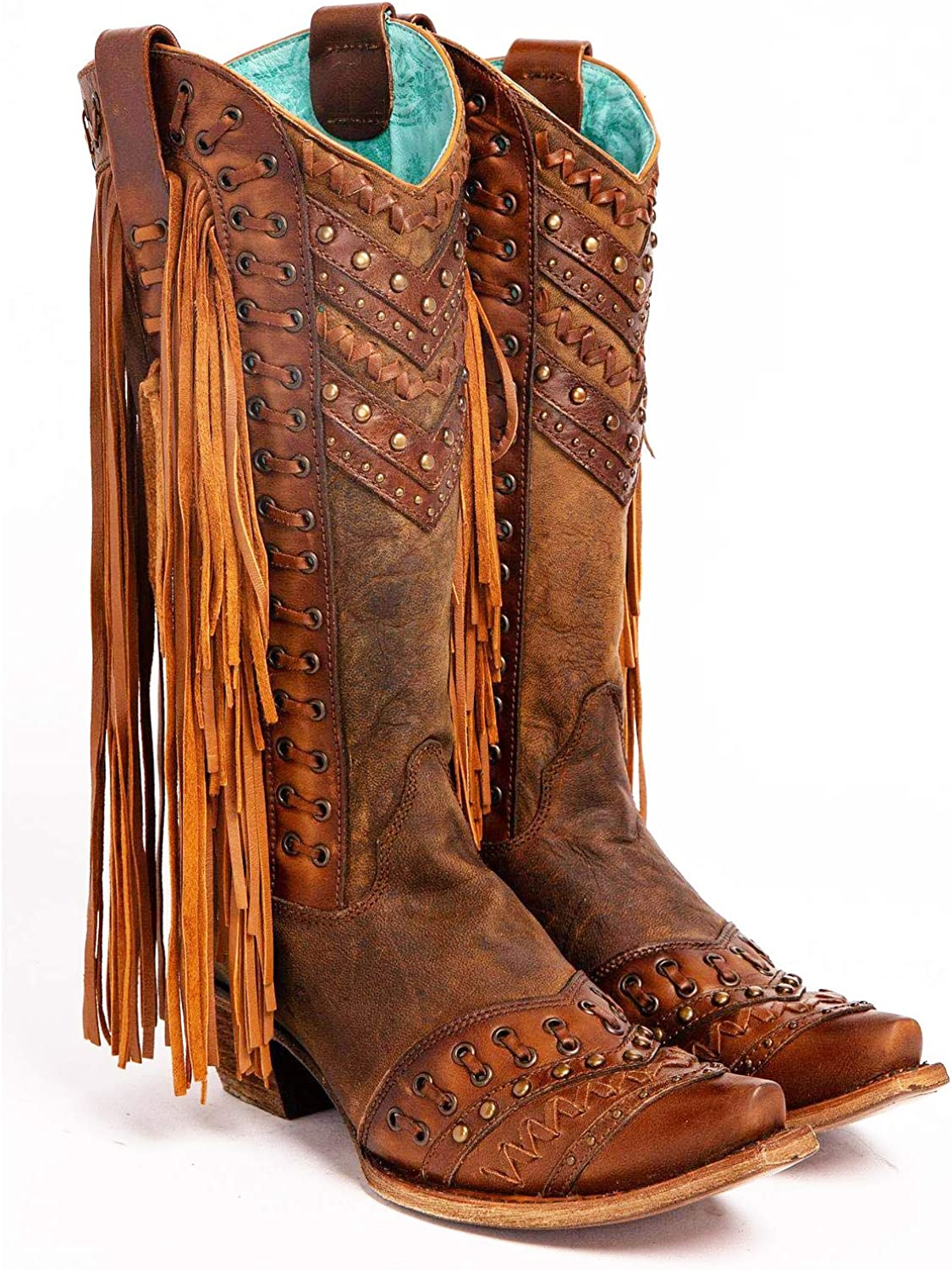 CORRAL Womens Mayela Woven /& Fringed Snip Toe Cowboy Leather Boots 7.5 Wide Brown//Tan