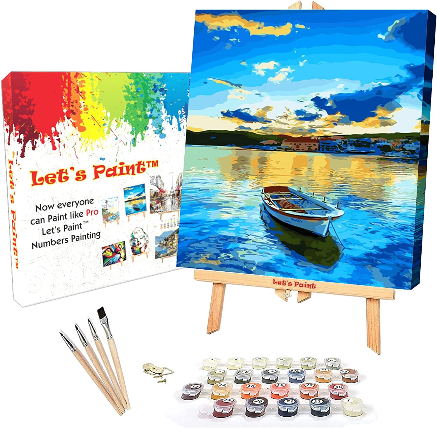 """DIY Paint by Numbers for Adults, Framed Canvas, 16x20"""" Wood Frame, Easel Stand, Acrylic Painting Kit for Adults, Paint by Number for Adults, Beginner to Advanced, Lone Boat by LET'S PAINT"""