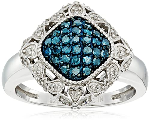 Sterling Silver Blue and White Diamond Cushion Ring 1 2 cttw, J-K Color, I2-I3 Clarity , Size 7