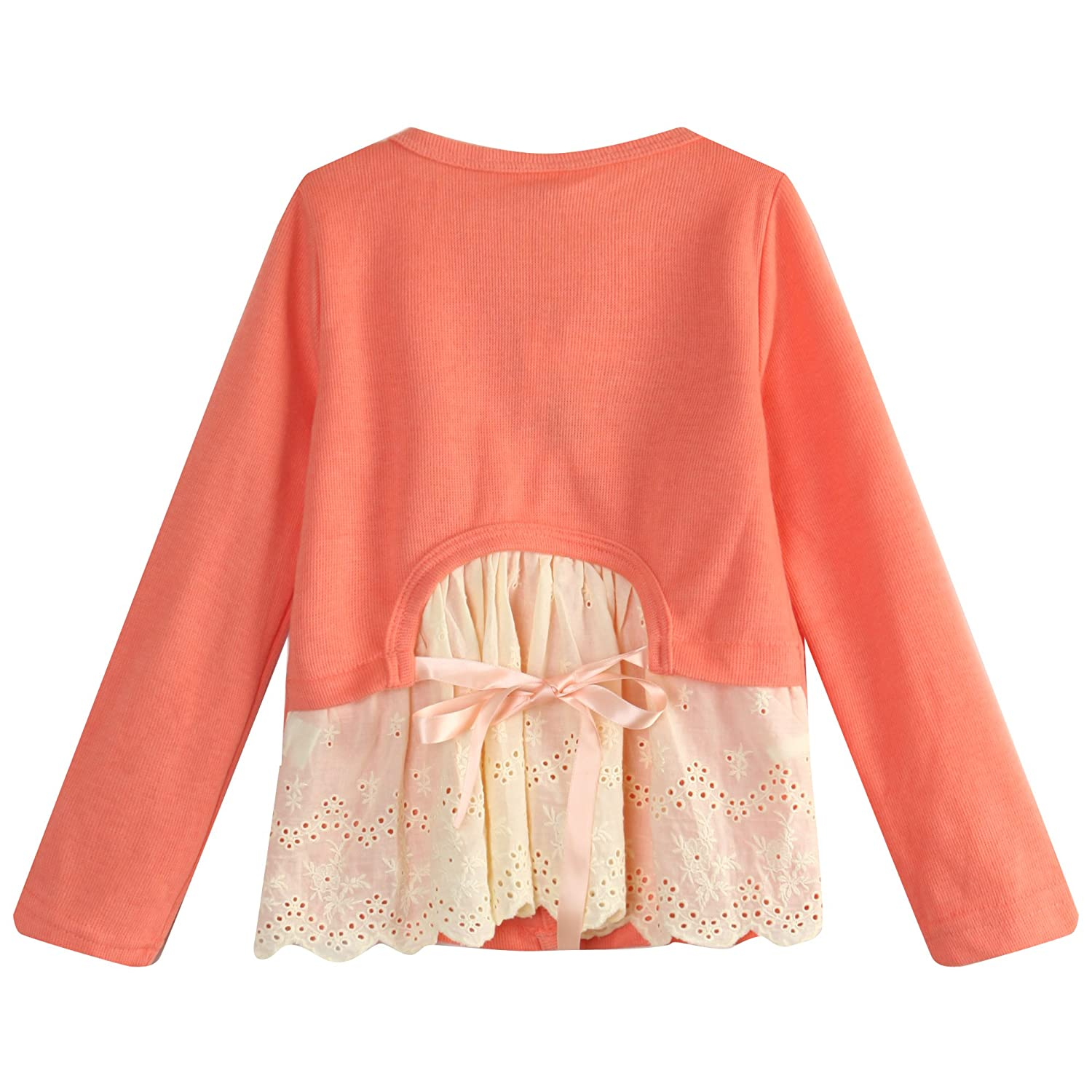 Richie House Girls' Top with Fancy Lace Elements and Pearly Buttons RH0892