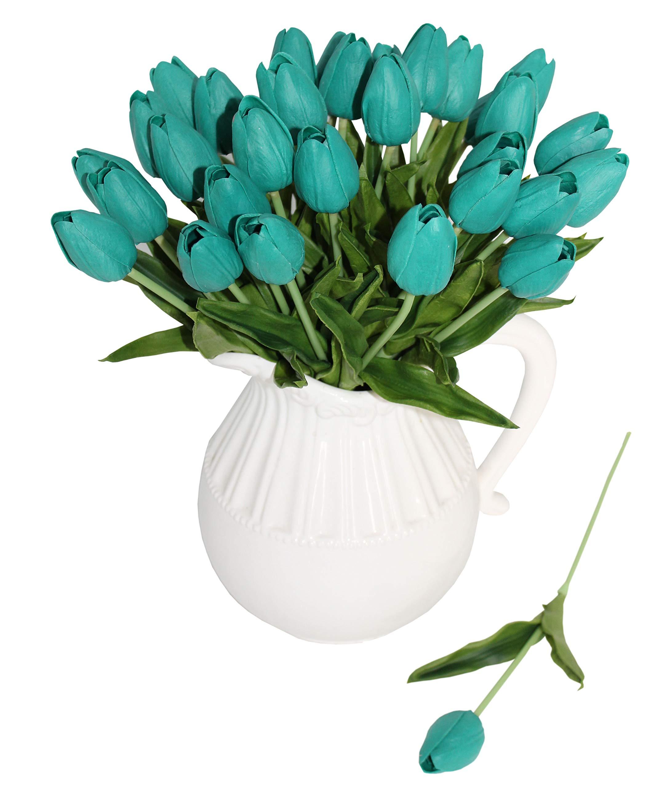 silk flower arrangements aliersa 10-heads home decoration mini tulip real touch tulip artificial flowers bouquets (dark teal)
