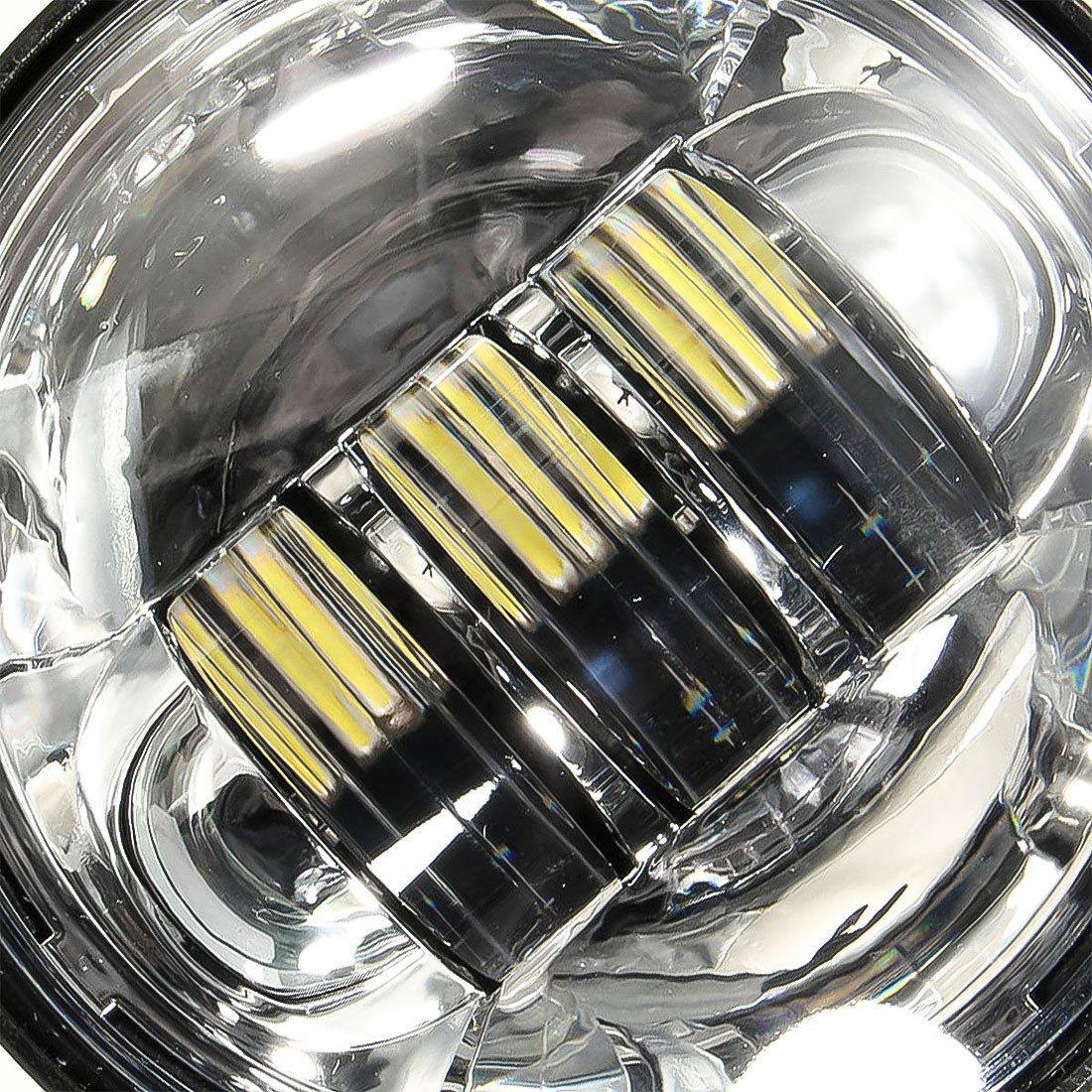 2pcs Argent 4,5 Pouces 11,4 cm 30 W CREE LED Lumi/ère de Brouillard pour Moto Kit de Travail Conduite Lampe pour Harley SUPAREE Feux de Anti brouillard pour Harley