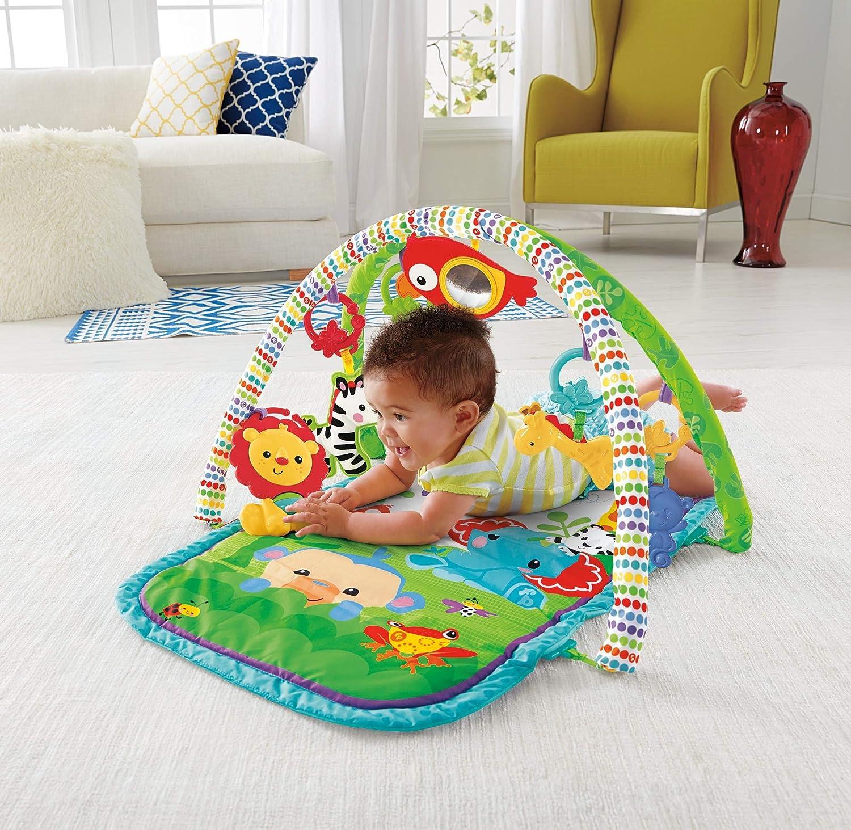 arches de jeu et jouets transportable GXC36 d/ès la naissance emballage ferm/é Fisher-Price Amis de la Jungle 3-en-1 tapis d/éveil musical pour b/éb/é