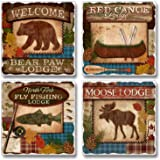 Lodge 'n Around Square Assorted Tumbled Stone Coaster Set of 4, Highland Graphics