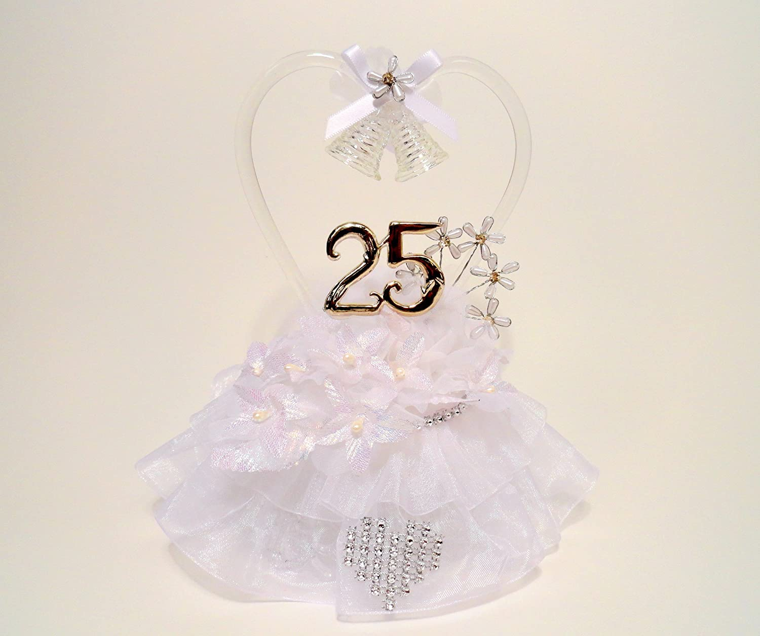 Amazon Com 25th Wedding Anniversary Cake Topper Or Table Decoration Crystal Heart And Rhinestone Accents 8600 Kitchen Dining