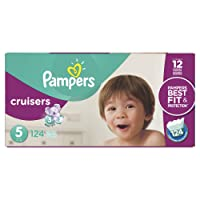 Pampers Cruisers Disposable Baby Diapers Size 5, Economy Pack Plus, 124 Count