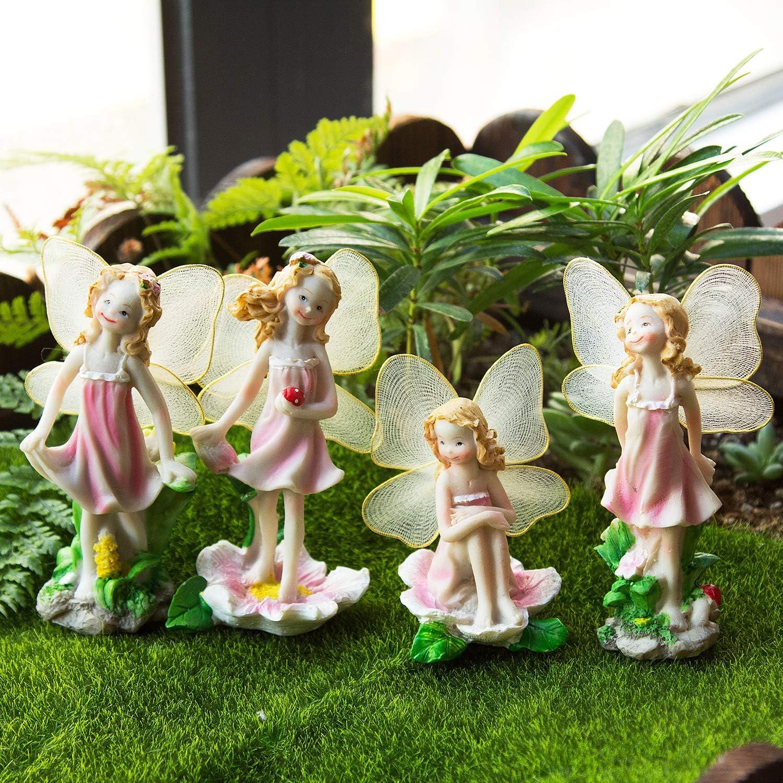 Hakkin Resin Garden Ornament Home /& Outdoor Decor Flower Fairies Set Of 4