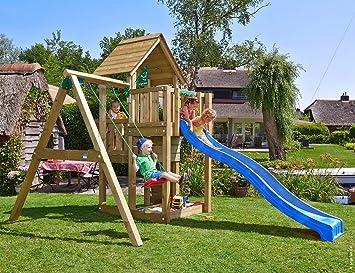 Jungle Gym Cubby 1-Swing Azul Casitas Infantiles de Madera para Jardin con Tobogan y Columpio: Amazon.es: Juguetes y juegos