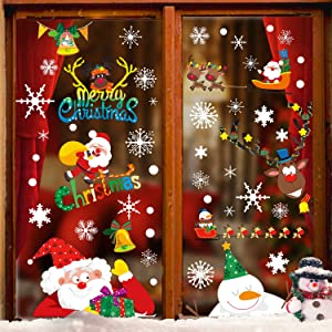 DIYASY Christmas Window Clings,8 Large Sheets Snowflake Reindeer Santa Claus Snowman Decals Stickers for Xmas Home Decoration and Holiday Decor