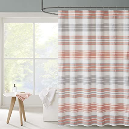 Ana Puckering Stripe Shower Curtain Coral 72x72quot