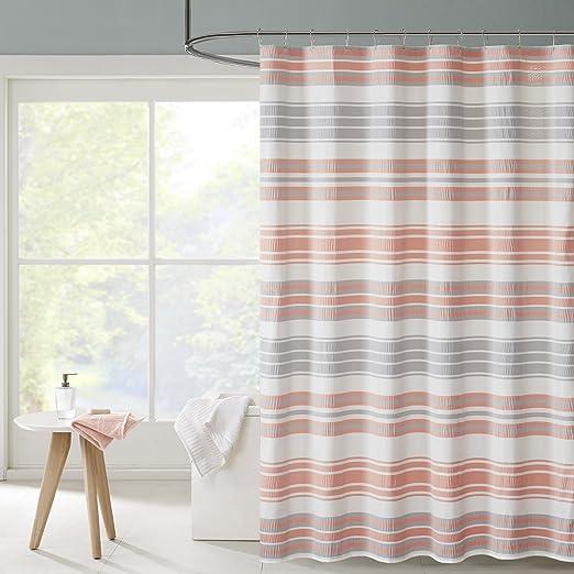 Amazon Intelligent Design ID70 803 Ana Puckering Stripe Shower Curtain 72x72 Aqua72x72 Home Kitchen