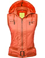 Made By Johnny MBJ Womens Faux Leather Moto Vest