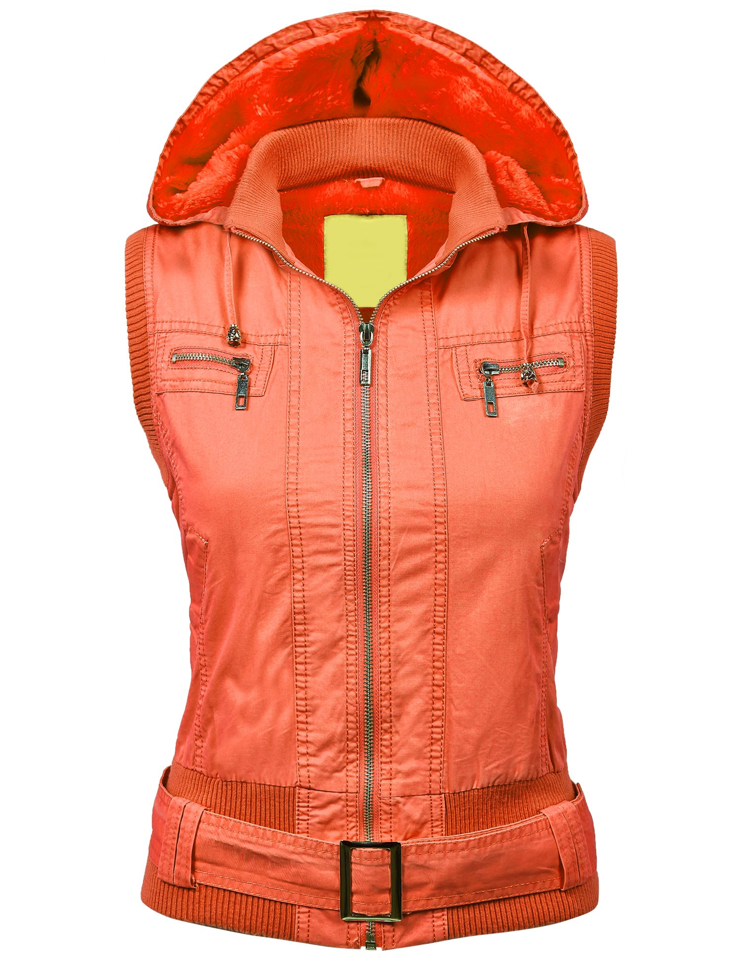 Made By Johnny WV1008 Womens Belted Zip Up Hoodie Vest With Inner Fleece L Peach