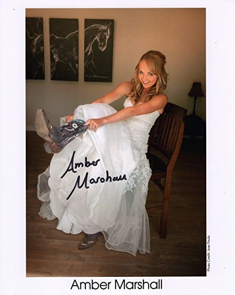 Amber Marshall Hand Signed 8x10 Color Photocoa Sexy Cowboy Boots Hear