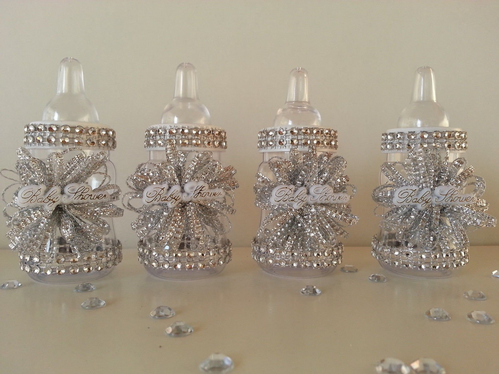 12 Silver Fillable Bottles for Baby Shower Favors Prizes Games Girl Decorations