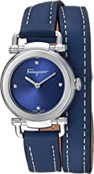 Salvatore Ferragamo Women's 'GANCINO Casual' Quartz Stainless Steel and Leather Watch, Color:Blue (Model: SFDC00218)