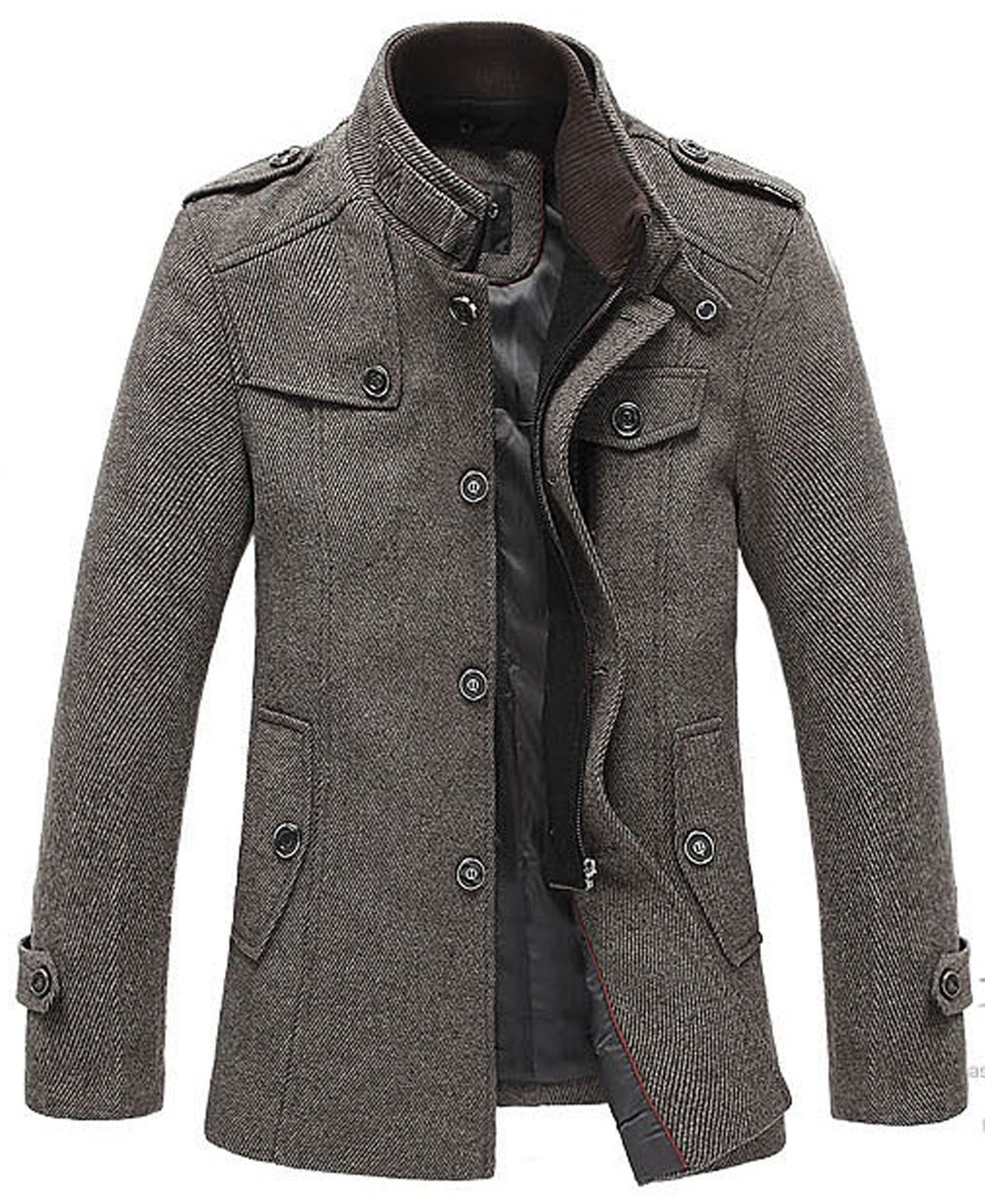 863db4adf chouyatou Men's Stand Collar Classic Pea Coat with Removable Inner ...