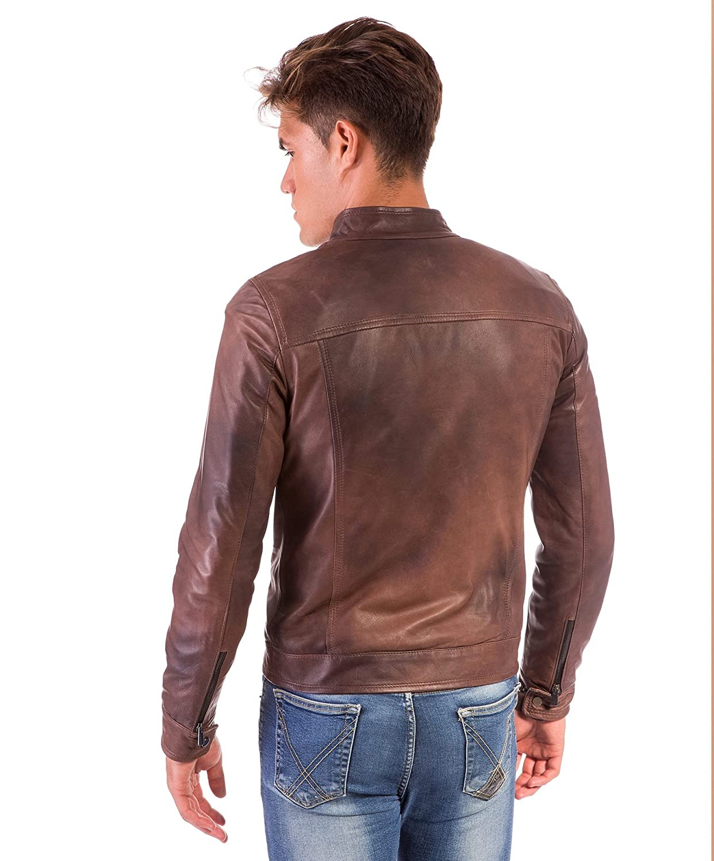 Hamilton /• Colore Marrone /• Giacca in Pelle Marrone Effetto Naturale Quattro Tasche DArienzo