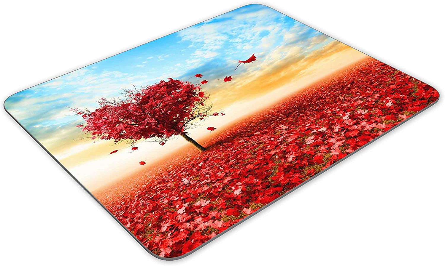 Artistic Love Field Heart Tree Under Blue Sky Mouse pad-Non-Slip Rubber Mousepad-Applies to Games,Home School,Office Mouse pad