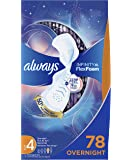 Always Infinity Feminine Pads for Women, Size 4, 78 Count, Overnight Absorbency, with Wings, Unscented (26 Count, Pack…