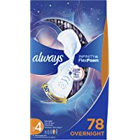 Always Infinity Feminine Pads for Women, Size 4, Overnight Absorbency, with Wings, Unscented, 26 Count,Pack of 3 (Packaging May Vary)