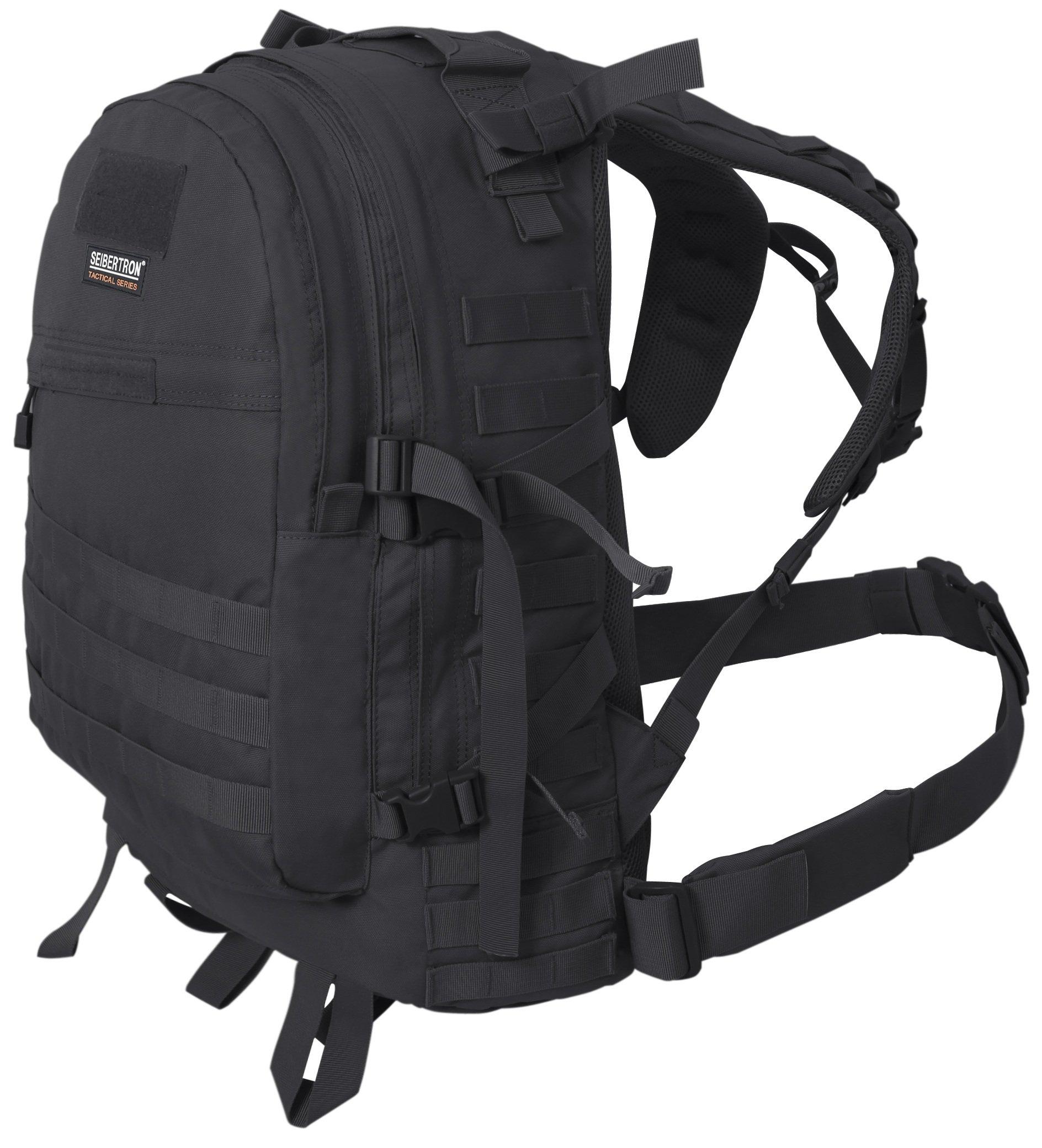 Seibertron Roving Motorcycle Riding Street Dirt Bike Waterproof Rucksack Backpack with Raincover (black-main bag)
