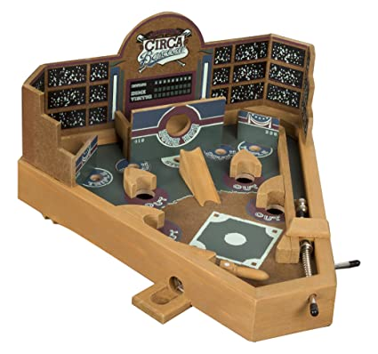 Hey Play Baseball Pinball Tabletop Skill Game Classic Miniature Wooden Retro Sports Arcade Desktop Toy For Adult Collectors And Children