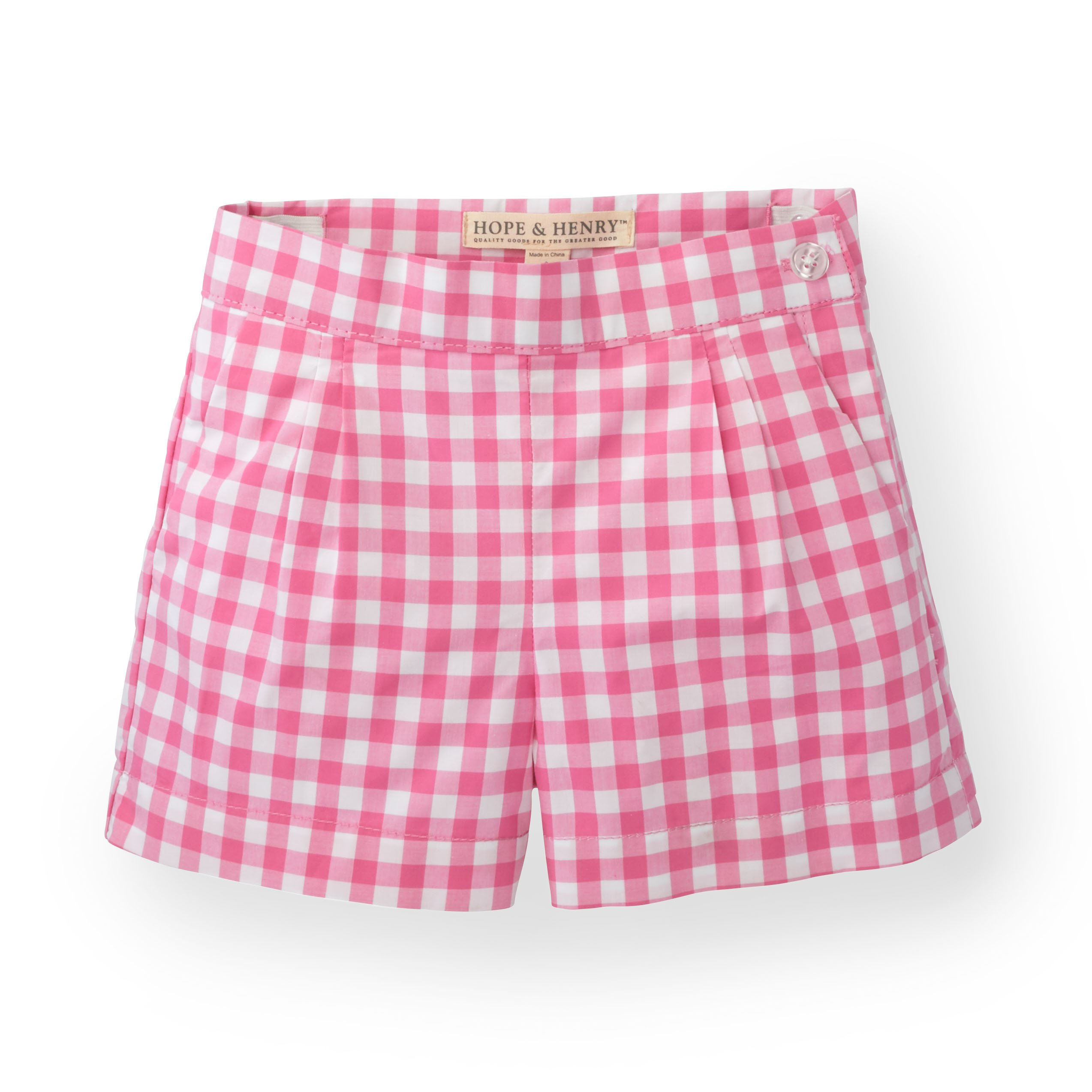 Hope & Henry Girls' Pink Gingham Pleat Short Made with Organic Cotton