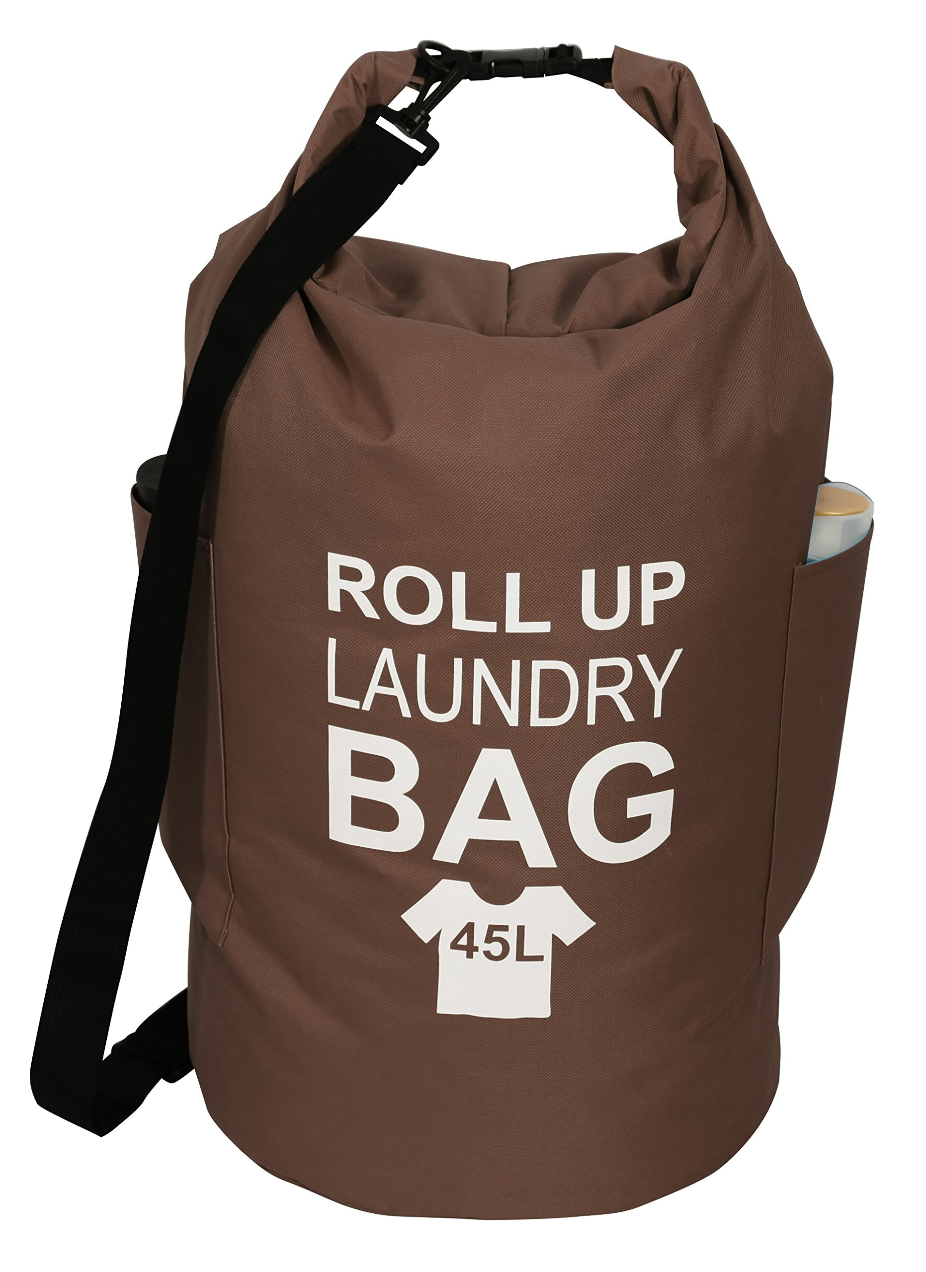 iTIDY Laundry Bag - Water Proof Roll Up Laundry Bag with Adjustable Shoulder Strap,Foldable Laundry Hamper Bag with Rolling up Closure and Fastener,Round Tall Laundry Bag Backpack Style, Brown