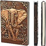 XUAN Vintage Notizbuch A5 Hardcover PU Leder Liniert Tagebuch Reisetagebuch Zum Selberschreiben Notizheft Travel Journal Buch Geburtstaggeschenk für Mädchen Männer Kinder Jungen Erwachsene 3D Elefant